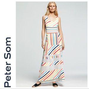 NWT PETER SOM FOR DESIGNATION STRIPED MAXI DRESS S
